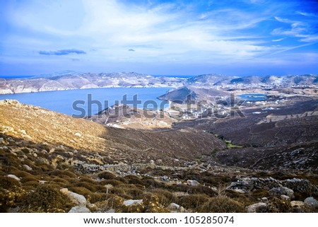 Arial view of Panormos Bay View from highest elevation in Mykonos Island Greece - stock photo