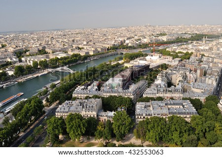 Arial view of Paris - summer very hot day