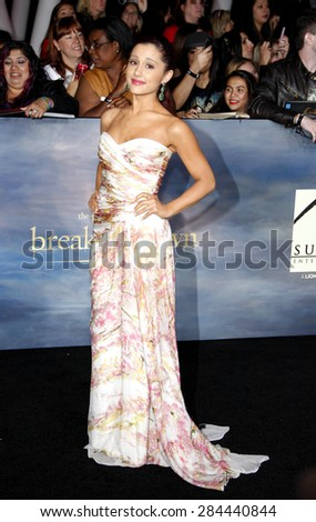 Ariana Grande at the Los Angeles premiere of 'The Twilight Saga: Breaking Dawn - Part 2' held at the Nokia Theatre L.A. Live in Los Angeles on November 12, 2012.  - stock photo