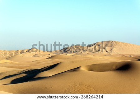 Arid desert sand dunes near Huacachina, Peru - stock photo