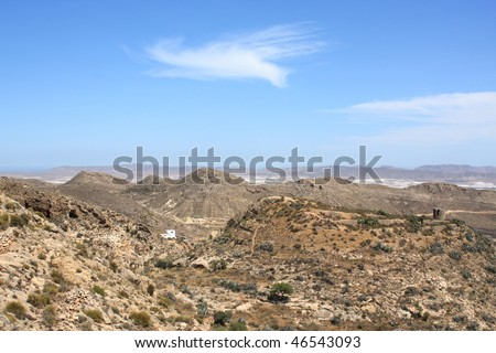 Arid landscape in Nijar in the province of Almeria, south-east of Spain.