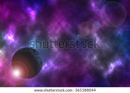arid planet on space with colorful nebula - stock photo