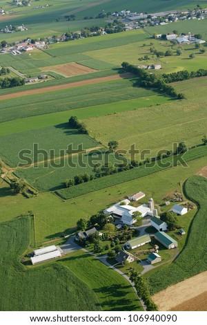 Ariel view of dutch country farm land - stock photo