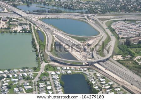 Ariel view of Highway Bridge Ramps Orlando Florida - stock photo