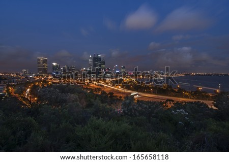 Ariel view of Perth City from Kings Park at night, Perth, Australia. - stock photo