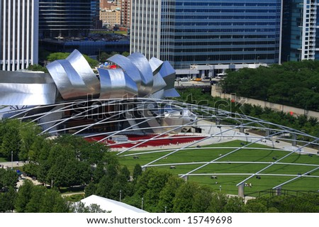 Ariel view of Pritzker Pavilion in Chicago Illinois
