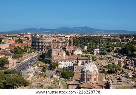 Ariel view of Rome: including the Colosseum and Roman Forum. Rome - Italy.  - stock photo