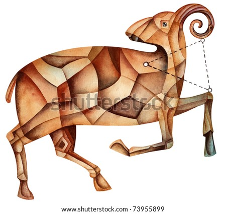 Aries. Cubist Zodiac Star Sign isolated on a white background - stock photo