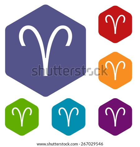 Aries Rhombus Icons Set Different Colors Stock Illustration