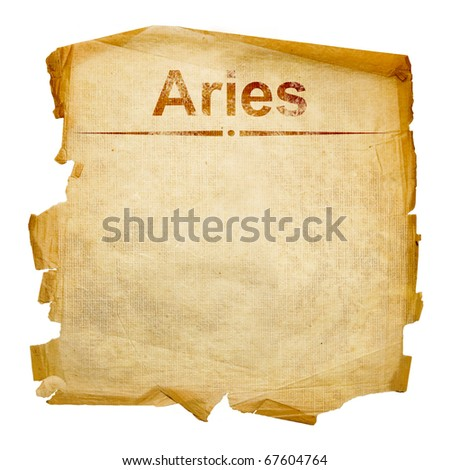 Aries zodiac old, isolated on white background.