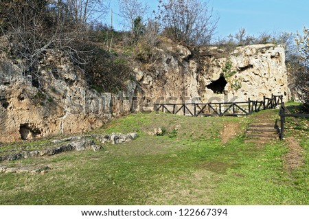 Aristoteles ancient school and the Nymphaeum of Mieaza near Naousa city in Greece. Place were Aristoteles was teaching the young Alexander the Great. - stock photo