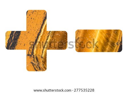 Arithmetic signs from mineral tiger eye isolated on white background, signs - +-