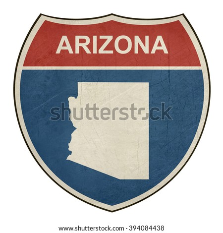 Arizona American interstate highway road shield isolated on a white background. - stock photo