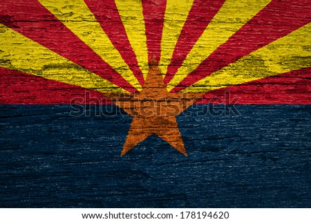 Arizona American state Flag on old wood background - stock photo