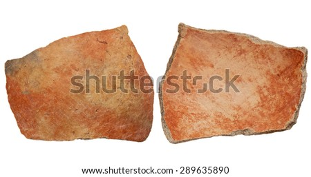 Arizona Anasazi pottery shard, ancient Native American Indian artifact, two sides of a large bowl fragment, isolated on white - stock photo