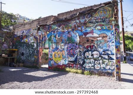 Arizona, Bisbee, USA, April 6, 2015, graffiti - stock photo