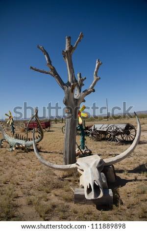 Arizona Desert with Bull Skull - stock photo