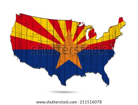 Arizona flag with America map and white background - stock photo