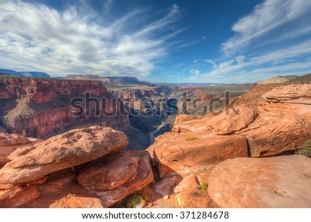 Arizona-Grand Canyon National Park-N Rim-Toroweep. This image shows the spectacular 3000 ft. sheer drop to the mighty Colorado River - stock photo