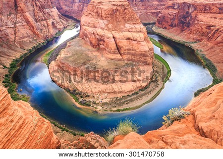 Arizona Horseshoe Bend on Colorado River in Glen Canyon part of Grand canyon, Page, Arizona, USA. Famous hiking place. - stock photo