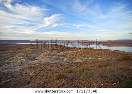 Arizona Lake Powell Scenic Landscape. Northern Arizona near Page, AZ. Arizona Landscape. - stock photo