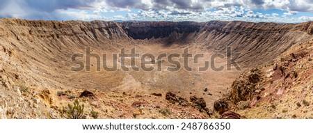 Arizona Meteor Crater, USA. Panoramic view - stock photo