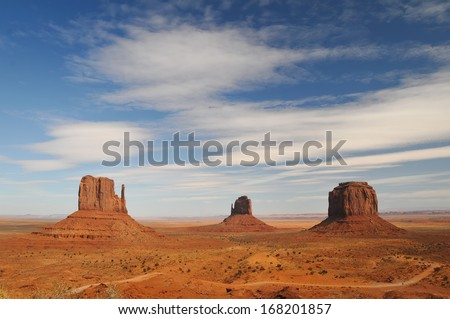 ARIZONA - OCTOBER 23: View of West Mitten Butte, East Mitten Butte, and Merrick Butte in Monument Valley.
