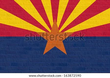 Arizona state flag of America, isolated on white background. - stock photo