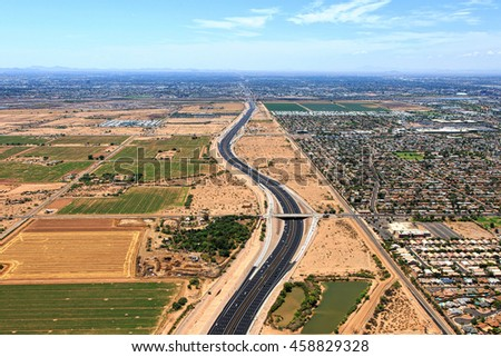 Arizona State Route 101, better known as Loop 101 looking south from Scottsdale towards Mesa and Tempe from above - stock photo