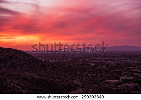Arizona Sunset Scenery. Phoenix Arizona, United States. - stock photo