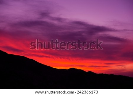 Arizona Sunset. Scenic Sunset in Arizona, United States. Mountain Ridge Silhouette.