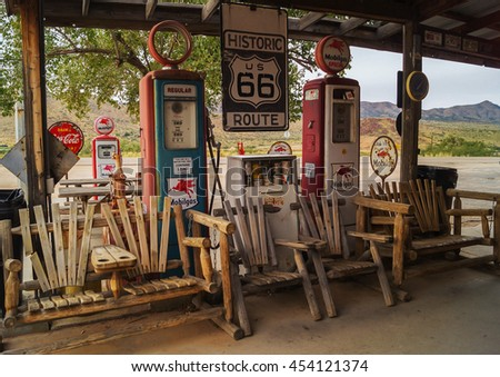 Arizona,USA,?? October 25,2015: Views of the route 66 decorations in Arizona.