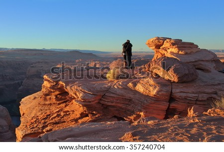Arizona, Wild West Landscape, with couple kissing on top on mountain