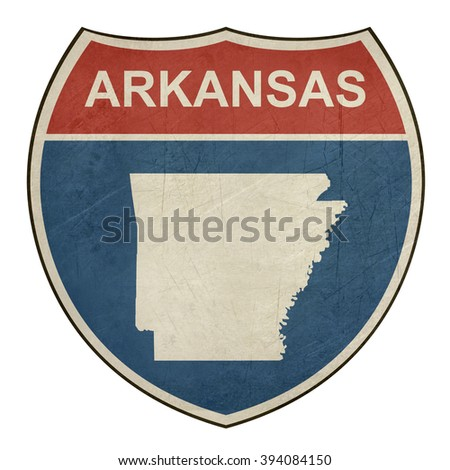 Arkansas American interstate highway road shield isolated on a white background. - stock photo
