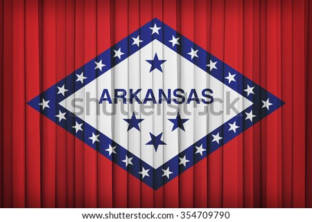 Arkansas flag pattern on the fabric curtain,vintage style - stock photo