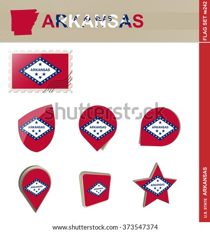 Arkansas Flag Set, US state, Flag Set 242. Rasterized Copy. - stock photo