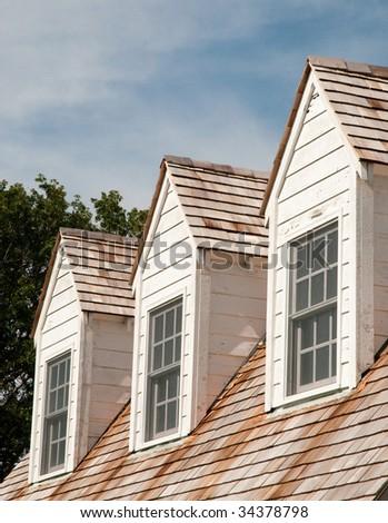 Arkansas Post National Memorial building windows - stock photo