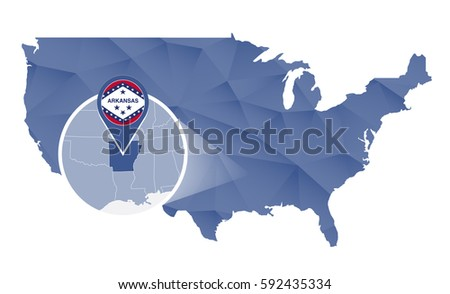 Arkansas State On Usa Map Arkansas Stock Vector - Us map with arkansas
