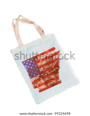 Arkansas state of the United States of America in grunge flag pattern on white shopping bag isolated on white background.