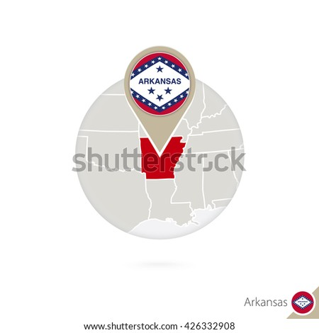 Arkansas US State map and flag in circle. Map of Arkansas, Arkansas flag pin. Map of Arkansas in the style of the globe. Raster copy. - stock photo