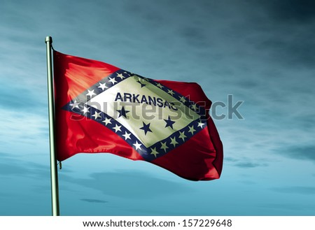 Arkansas (USA) flag waving in the evening - stock photo