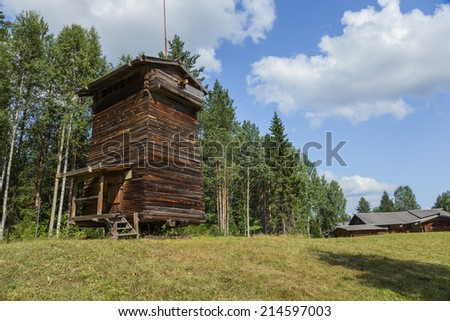 ARKHANGELSK, RUSSIA - AUG 1, 2013: Photo of the windmill, the end of the XIX century. Arkhangelsk State Museum of Wooden Architecture and Folk Art Mallye Korely