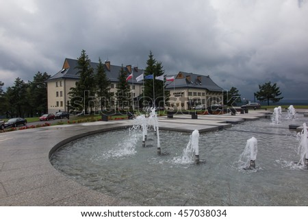 Arlamow, Poland -July 18, 2016: Hotel Arlamow  with plaque commemorating the internment in this place, in 1982, Lech Walesa president SOLIDARITY, and Nobel Peace Prize laureate and President Polish - stock photo