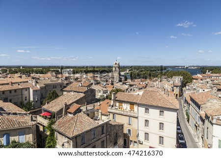 ARLES, FRANCE - AUG 21, 2016: view with people from famous arena in Arles to old town, France.