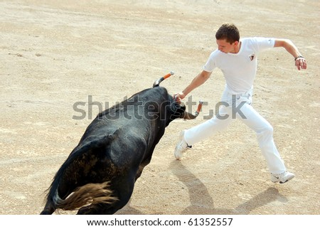 ARLES - JULY 9: Trainees of the school for Raseteur in Arles Florian Rado fights against a Camargue-bull in the arena on July 09, 2010 in Arles, Bouche du Rhone, Fance - stock photo