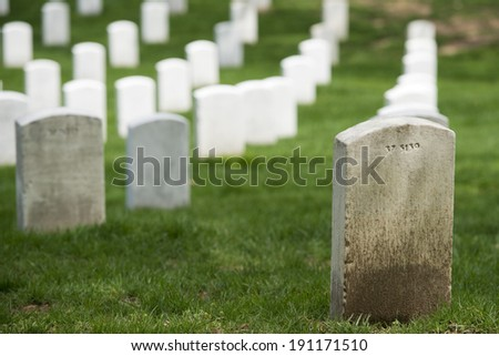 arlington cemetery graveyard white tombstones - stock photo