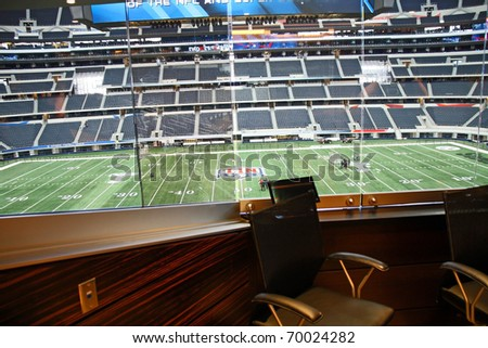 ARLINGTON - JAN 26: A view of Cowboys Stadium in Arlington, Texas from one of Jerry Jones' luxury suites. Sight of Super Bowl XLV. Taken January 26, 2011 in Arlington, TX.