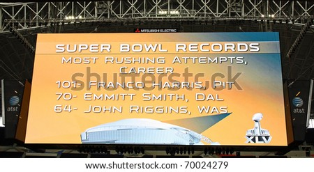 ARLINGTON - JAN 26: The giant scoreboard in Cowboys Stadium in Arlington, TX - sight of Super Bowl XLV. Scoreboard is listed in Guinness Book of World Records. Taken January 26, 2011 in Arlington, TX. - stock photo
