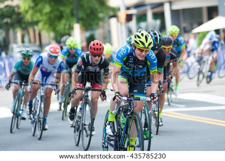 ARLINGTON JUNE 11: Cyclists compete in the elite women's race of The Air Force Association Cycling Classic on June 11, 2016 in Arlington, Virginia