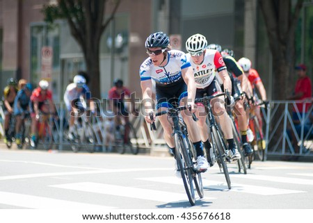 ARLINGTON JUNE 11: Cyclists compete in the mens pro/1 race of The Air Force Association Cycling Classic on June 11, 2016 in Arlington, Virginia
